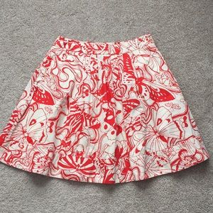Anthropologie red and white butterfly skirt sz 6